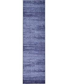 """Lyon Lyo3 Navy Blue 2' 7"""" x 10' Runner Area Rug"""