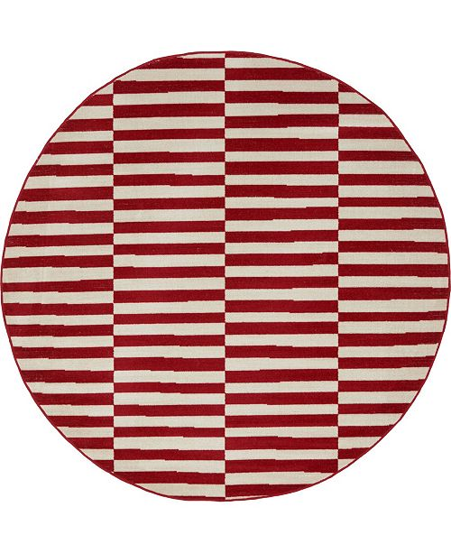 Bridgeport Home Axbridge Axb2 Red 5' x 5' Round Area Rug