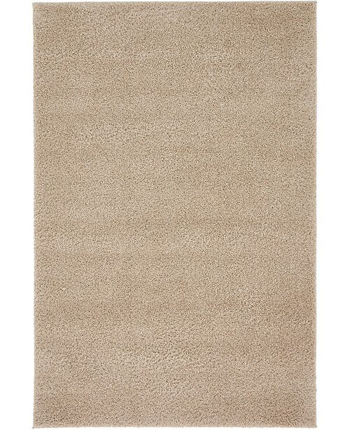 Bridgeport Home Salon Solid Shag Sss1 Taupe 4' x 6' Area Rug
