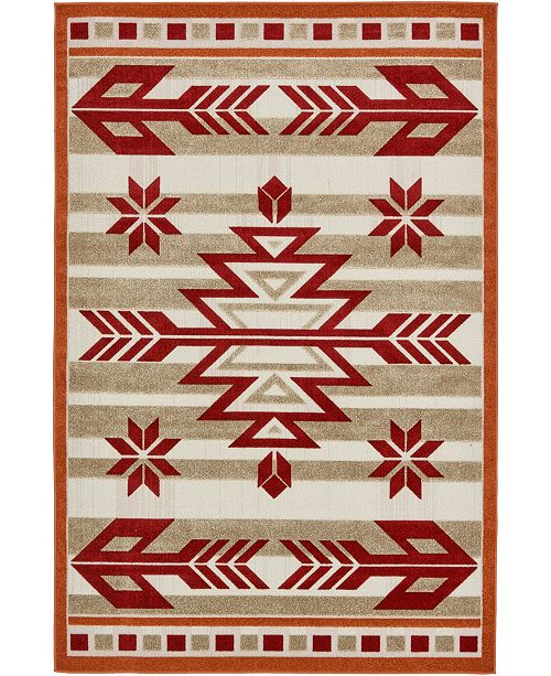 Bridgeport Home Pashio Pas2 Burgundy 6' x 9' Area Rug