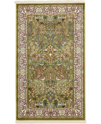 Zara Zar7 Green 3' x 5' Area Rug