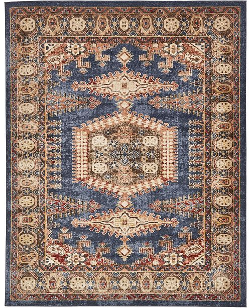 Bridgeport Home Shangri Shg4 Navy Blue 8' x 10' Area Rug
