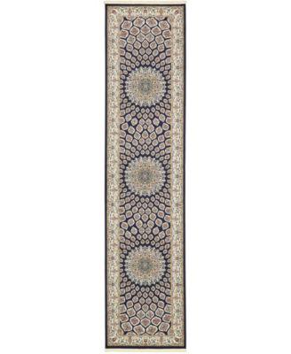 Zara Zar1 Navy Blue 3' x 13' Runner Area Rug