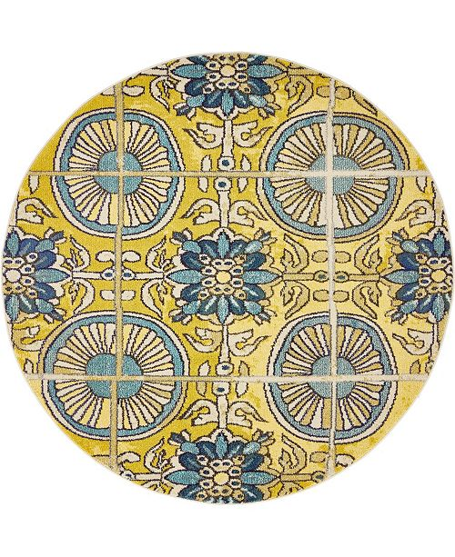 Bridgeport Home Newwolf New5 Gold 6' x 6' Round Area Rug