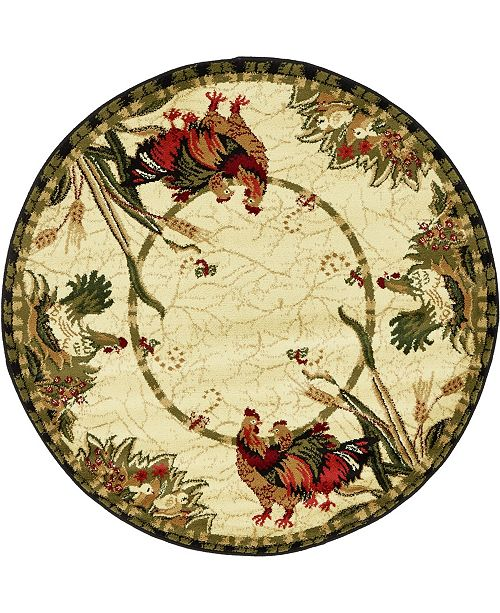 Bridgeport Home Roost Roo1 Ivory 4' x 4' Round Area Rug
