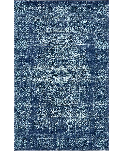 Bridgeport Home Wisdom Wis3 Navy Blue 5' x 8' Area Rug