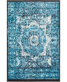 Bridgeport Home Linport Lin7 Turquoise 2' x 3' Area Rug