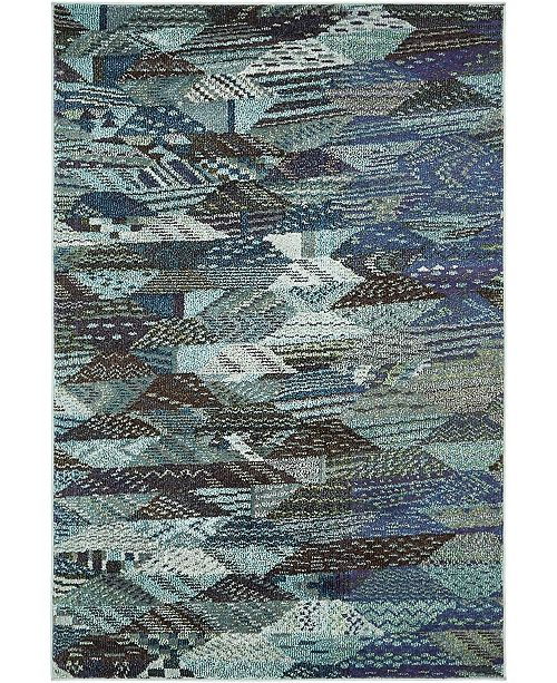 Bridgeport Home CLOSEOUT! Arcata Arc4 Blue 4' x 6' Area Rug