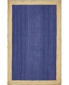 Bridgeport Home Braided Jute A Bja4 Navy Blue 5' x 8' Area Rug