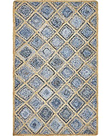 Bridgeport Home Braided Square Bsq6 Blue 5' x 8' Area Rug