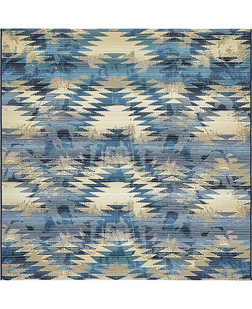 Bridgeport Home Pashio Pas2 Blue 6' x 6' Square Area Rug