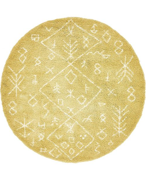 Bridgeport Home Fazil Shag Faz1 Yellow 8' x 8' Round Area Rug