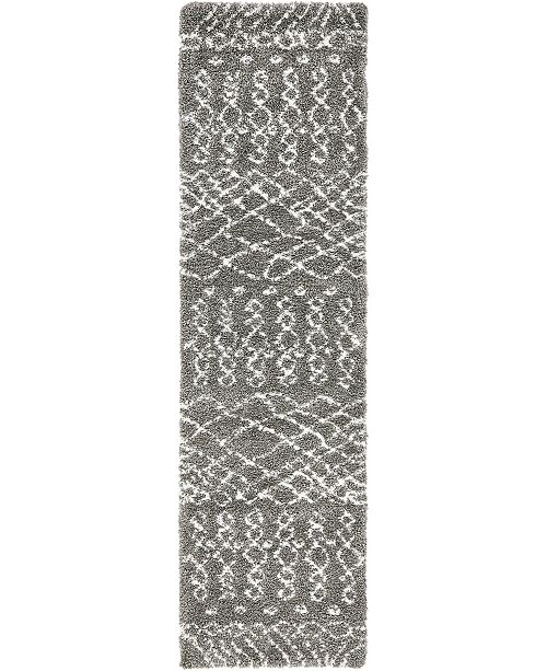 "Bridgeport Home Fazil Shag Faz2 Gray 2' 7"" x 10' Runner Area Rug"