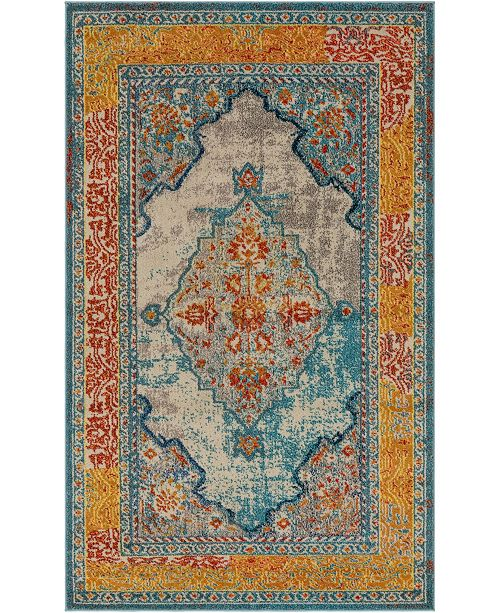 Bridgeport Home Brio Bri1 Blue 5' x 8' Area Rug
