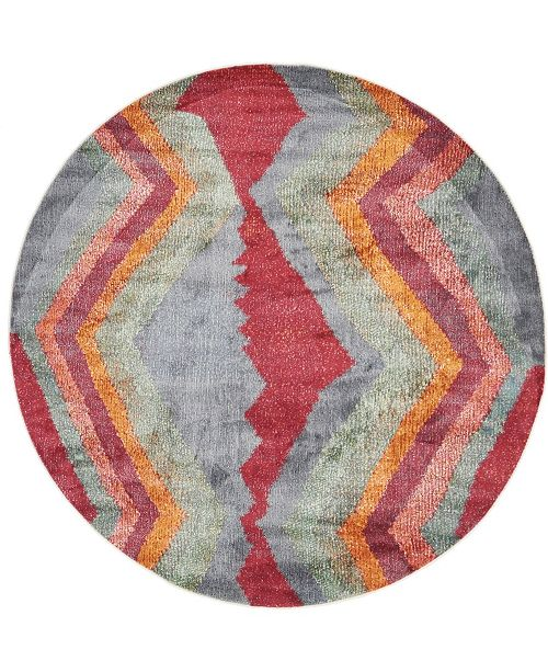 "Bridgeport Home Tempe Tmp2 Gray 5' 5"" x 5' 5"" Round Area Rug"