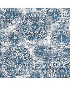 Bridgeport Home Basha Bas7 Blue 6' x 6' Square Area Rug
