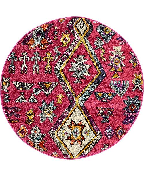 "Bridgeport Home CLOSEOUT! Arcata Arc1 Pink 3' 3"" x 3' 3"" Round Area Rug"