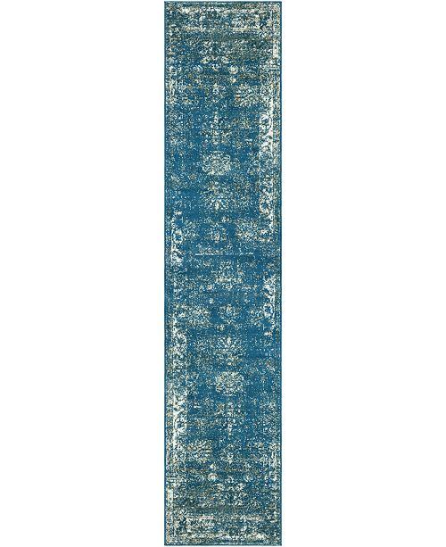"Bridgeport Home Basha Bas1 Blue 2' x 9' 10"" Runner Area Rug"