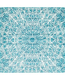 Bridgeport Home Basha Bas4 Turquoise 8' x 8' Square Area Rug