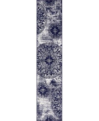Basha Bas7 Navy Blue 2' x 13' Runner Area Rug