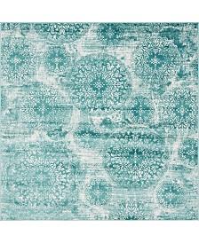 Bridgeport Home Basha Bas7 Turquoise 8' x 8' Square Area Rug