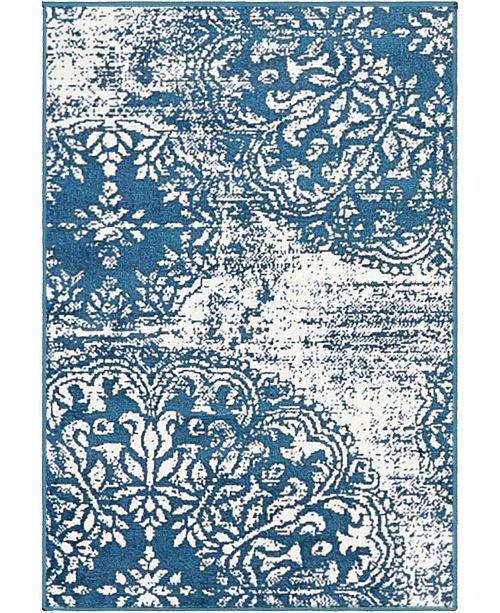 """Bridgeport Home Basha Bas7 Blue 2' 2"""" x 3' Area Rug"""
