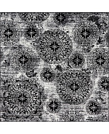 Bridgeport Home Basha Bas7 Black 8' x 8' Square Area Rug