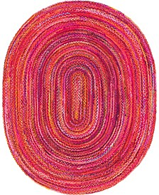 Roari Cotton Braids Rcb1 Red 8' x 10' Oval Area Rug