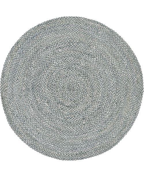Bridgeport Home Roari Cotton Braids Rcb1 Gray 8' x 8' Round Area Rug