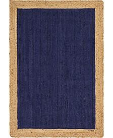 Bridgeport Home Braided Jute A Bja4 Navy Blue 4' x 6' Area Rug