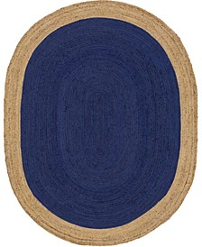 Braided Jute A Bja4 Navy Blue 8' x 10' Oval Area Rug