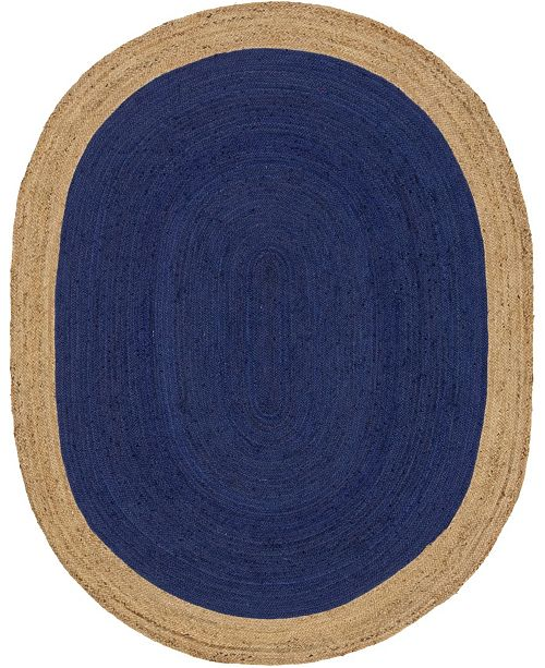 Bridgeport Home Braided Jute A Bja4 Navy Blue 8' x 10' Oval Area Rug