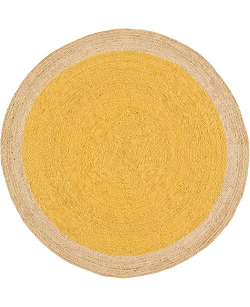 Bridgeport Home Braided Jute A Bja4 Yellow 8' x 8' Round Area Rug