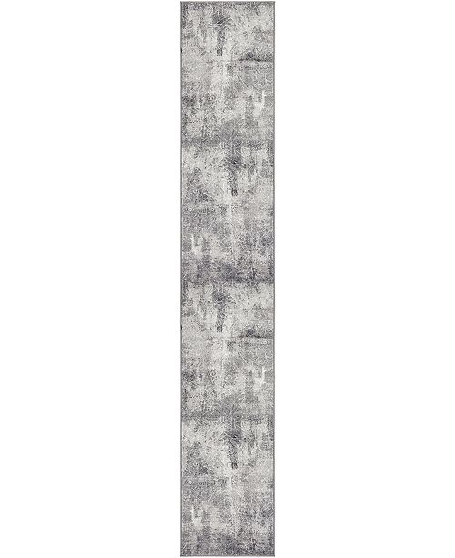 "Bridgeport Home Basha Bas6 Dark Gray 3' 3"" x 19' 8"" Runner Area Rug"