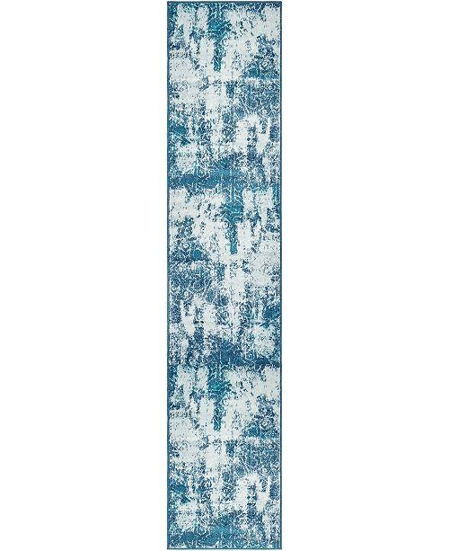 "Bridgeport Home Basha Bas6 Blue 2' x 9' 10"" Runner Area Rug"