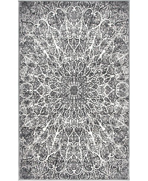 "Bridgeport Home Basha Bas4 Dark Gray 3' 3"" x 5' 3"" Area Rug"