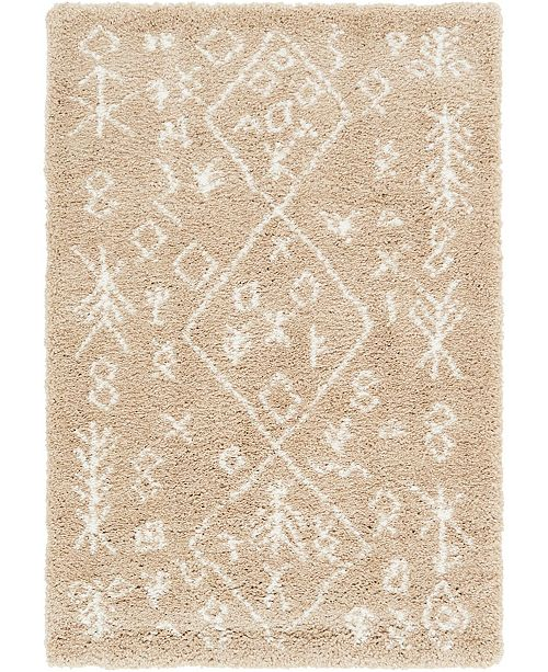 Bridgeport Home Fazil Shag Faz1 Taupe 4' x 6' Area Rug