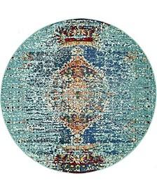 Brio Bri6 Turquoise 4' x 4' Round Area Rug