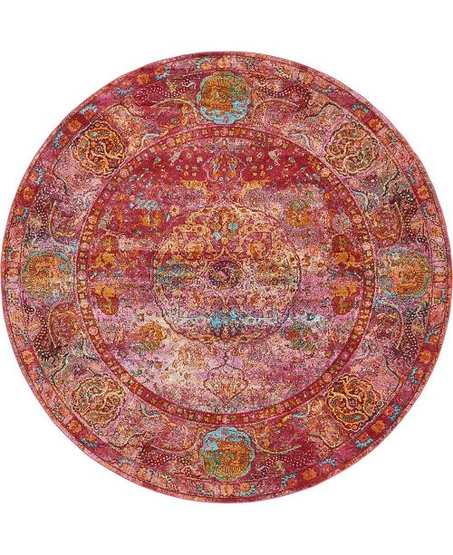 "Bridgeport Home Kenna Ken1 Red 8' 4"" x 8' 4"" Round Area Rug"