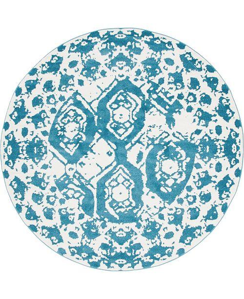 Bridgeport Home Mishti Mis5 Blue 8' x 8' Round Area Rug