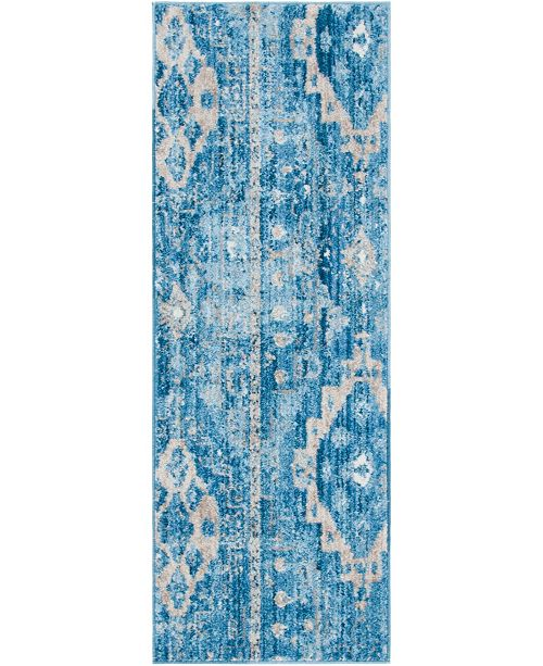 "Bridgeport Home Nira Nir2 Blue 2' 2"" x 6' Runner Area Rug"