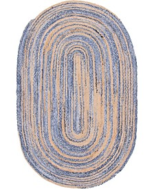 Bridgeport Home Roari Braided Chindi Rbc1 Blue/Natural 5' x 8' Oval Area Rug