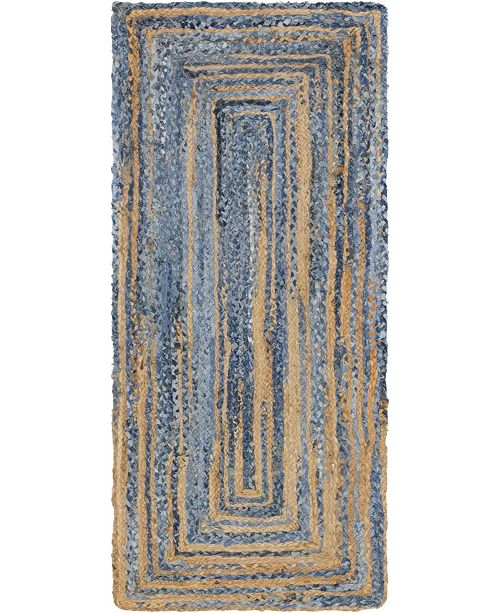 "Bridgeport Home Roari Braided Chindi Rbc1 Blue/Natural 2' 6"" x 6' Runner Area Rug"