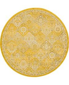 Lorem Lor2 Yellow 6' x 6' Round Area Rug