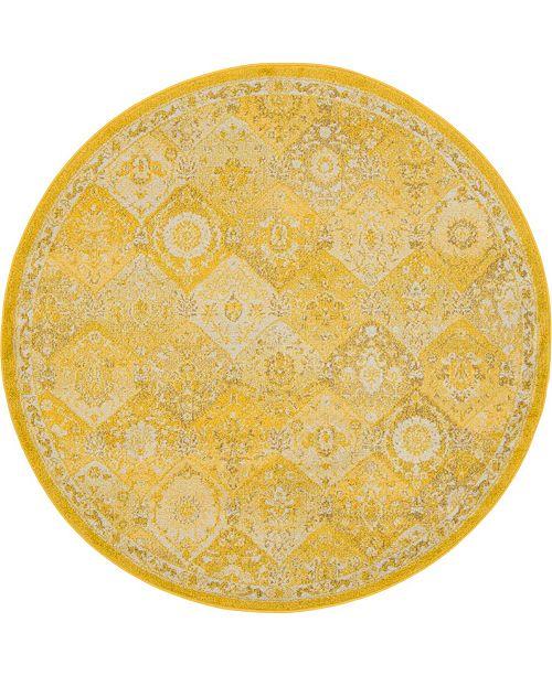 Bridgeport Home Lorem Lor2 Yellow 6' x 6' Round Area Rug