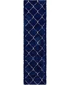 "Fazil Shag Faz5 Navy Blue 2' 7"" x 10' Runner Area Rug"