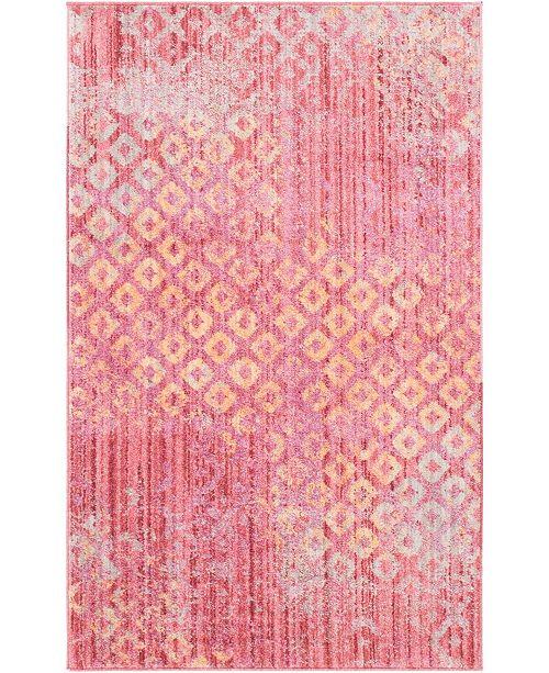 "Bridgeport Home Prizem Shag Prz2 Pink 3' 3"" x 5' 3"" Area Rug"