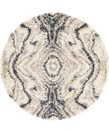 Bridgeport Home Lochcort Shag Loc4 Gray 5' x 5' Round Area Rug