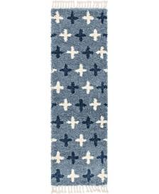 "Lochcort Shag Loc7 Blue 2' 7"" x 8' 2"" Runner Area Rug"