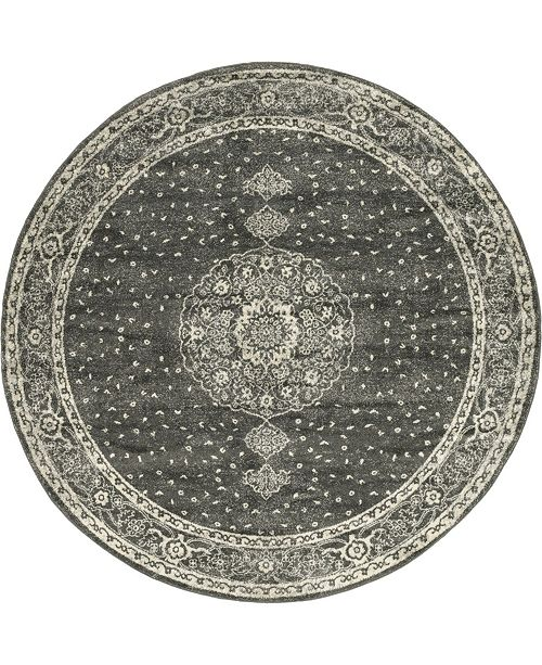 Bridgeport Home Mobley Mob1 Dark Gray 8' x 8' Round Area Rug